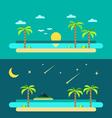 Flat design of summer paradise beach vector image