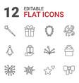 12 xmas icons vector image vector image