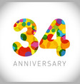 34 years anniversary circle colorful logo vector image vector image