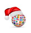 a sphere national flags in a cap a santa vector image vector image