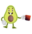avocado with cup tea on white background vector image