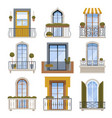 balcony decor building wall front view facade vector image vector image