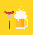 beer mug with foam and sausage on a fork vector image vector image