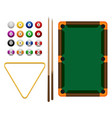 billiards flat billiards pool game accessories vector image