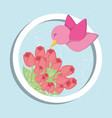 bird and flowers design vector image