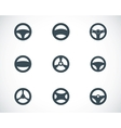 black Steering wheels icons set vector image vector image
