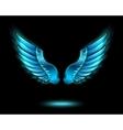 Blue glowing angel wings vector image