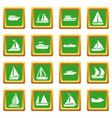 boat and ship icons set green vector image vector image