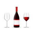 bottle of red wine with glasses vector image vector image