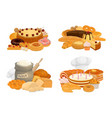 bread desserts and pastry icons vector image vector image
