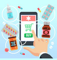 buyers hand selects and buys drugs and medications vector image vector image