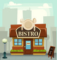 cartoon bistro restaurant building small business vector image vector image