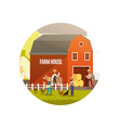 cartoon farm with farmers farm animals and vector image