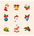 Christmas Tree Decorations Bright Icon Set vector image