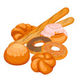 collection of bakery products isolated vector image