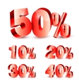 Collection of Discount Numbers vector image
