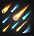 comets glowing asteroids and meteors in space vector image
