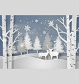deer in forest with snow vector image vector image