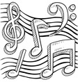 doodle music notes vector image vector image