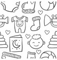 doodle of baby object set design vector image vector image