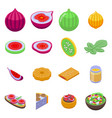 figs icons set isometric style vector image vector image