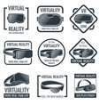 futuristic helmet virtual reality headset logos vector image