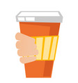 hand holding a disposable coffee cup with cover vector image vector image