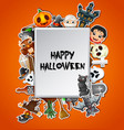 happy halloween square card celebrations vector image
