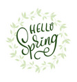 hello spring words on white background frame vector image