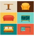 Interior icon set with furniture in retro style vector image