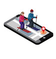 isometric man and woman skiing happy couple loves vector image vector image