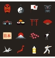 Japan icons set flat style vector image vector image