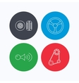 Klaxon signal tire and steering wheel icons vector image