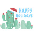 merry christmas card background with cactuses and vector image vector image