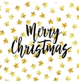 Merry Christmas sign Hand drawn lettering Golden vector image