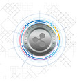 modern silver ripple coin white background vector image vector image