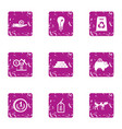 moneybag icons set grunge style vector image vector image
