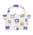 online shopping flat line art vector image