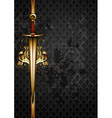 ornate frame with decorative sword vector image vector image
