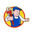 Plumber With Monkey Wrench Cartoon vector image vector image