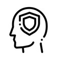 protection shield in man silhouette mind vector image