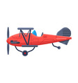 retro red airplane with propeller flying aircraft vector image vector image