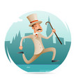 running gentleman happy victorian hurry wealthy vector image vector image