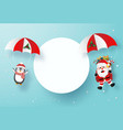 santa claus and penguin make a parachute jump vector image vector image
