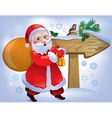 Santa Claus wooden sign vector image vector image
