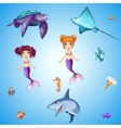 set cartoon underwater inhabitants mermaids vector image vector image