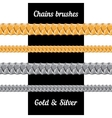 Set of chains metal brushes - gold and silver vector image