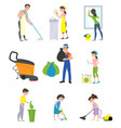 set of cleaning company staff vector image