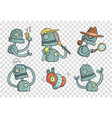 set with metal robot with different emotions vector image