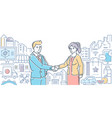 small business helps people - line design style vector image